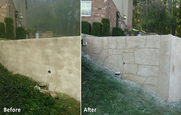 decorative concrete, retaining wall